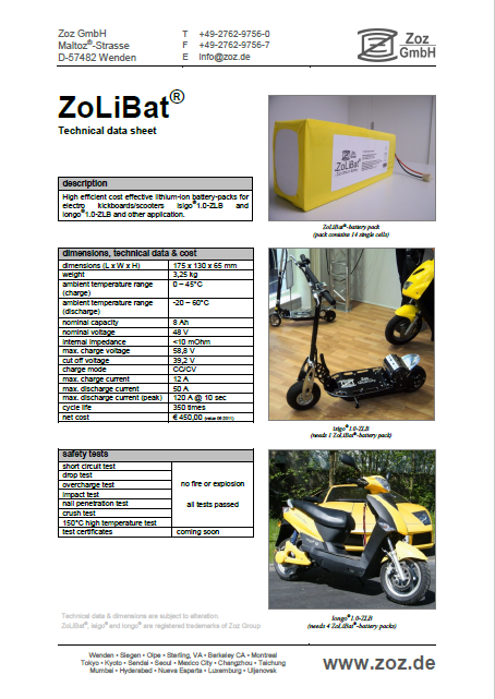 zolibat data sheet